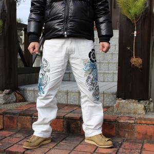和柄 ジーンズ 大きいサイズ デニムパンツ 刺繍 メンズ 双鯉 [TJ801812B]|tsutsumiya