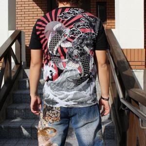 和柄 Tシャツ 半袖 刺繍 メンズ 大きいサイズ 双鯉 日章旗 2018年新作|tsutsumiya