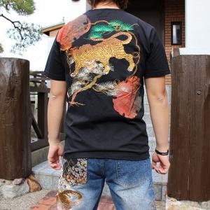 和柄 Tシャツ 半袖 刺繍 メンズ 大きいサイズ 猛虎 2018年新作|tsutsumiya