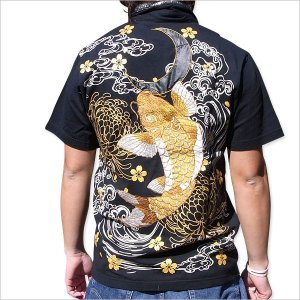 和柄 刺繍 ポロシャツ 半袖 メンズ 金鯉 ブラック 大きいサイズ|tsutsumiya