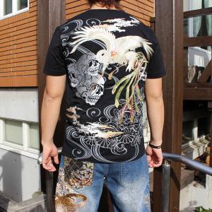 和柄 Tシャツ 半袖 刺繍 メンズ 大きいサイズ 鳳凰 髑髏 2018年新作|tsutsumiya