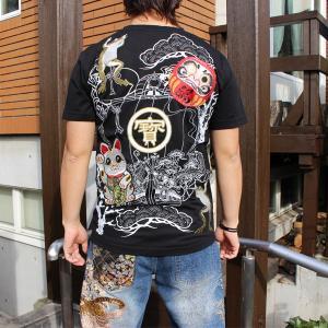 和柄 Tシャツ 半袖 刺繍 メンズ 大きいサイズ 招き猫 2018年新作|tsutsumiya