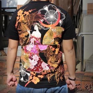 和柄 Tシャツ 半袖 刺繍 メンズ 花魁 大きいサイズ|tsutsumiya