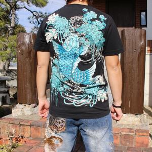 和柄 Tシャツ 半袖 刺繍 メンズ 大きいサイズ 双鯉 (ブルー) 2018年新作|tsutsumiya