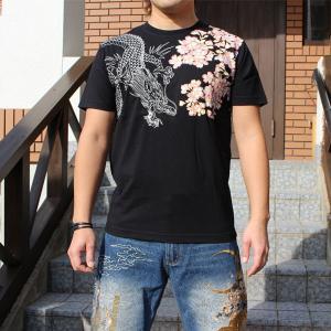 和柄 Tシャツ 半袖 刺繍 メンズ 大きいサイズ 龍 桜 2018年新作|tsutsumiya