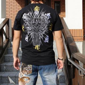 和柄 Tシャツ 半袖 刺繍 メンズ 大きいサイズ 千手観音 2018年新作|tsutsumiya