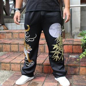 和柄ジャージパンツ 大きいサイズ スエット 刺繍 メンズ 虎 [YT7SP177]|tsutsumiya