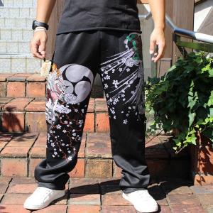 和柄ジャージパンツ 大きいサイズ スエット 刺繍 メンズ 風神雷神 [YT9SP177]|tsutsumiya