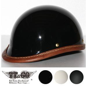 公道使用不可 ジョッキー レザーリムショット ハンドソウン ブラウンレザー ハーフヘルメット S M/L XL/XXL TT&CO.|ttandco