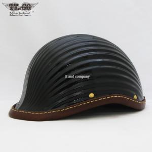 公道使用不可 リブリブ・ジョッキー レザーリムショット ハンドソウン ブラウンレザー ハーフヘルメット S M/L XL/XXL TT&CO.|ttandco