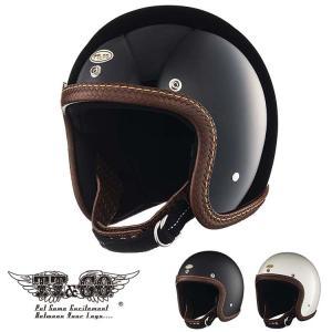 スーパーマグナム レザーリムショット ハンドソウン バスケット ブラウンレザー スモールジェットヘルメット SG/DOT規格品|ttandco