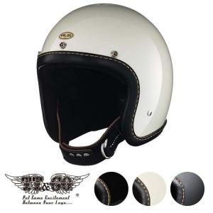 スーパーマグナム レザーリムショット ハンドソウン ブラックレザー スモールジェットヘルメット SG/DOT規格|ttandco
