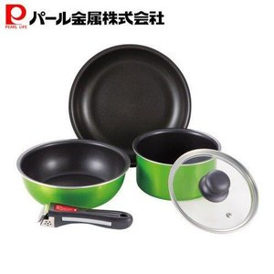 パール金属 フライパン 鍋 5点 セット IH対応 フッ素加工 グリーン クックウェアミニ クレア ...