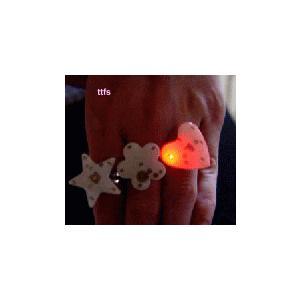 発光LED仕様 ピッカピッカ指輪(星、ハート型)|ttfs