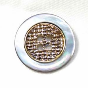 【メール便送料無料】PS-11黒蝶貝メタルボタンゴールド15mm 紳士服スーツジャケットの袖口・袖ボタンに|ttp