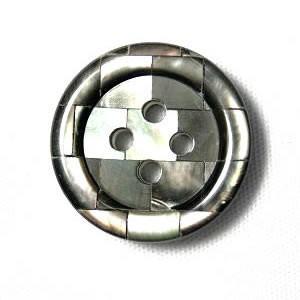 【メール便送料無料】P454黒蝶貝モザイクボタン15mmPS-454 紳士服スーツジャケットの袖口・袖ボタンに|ttp