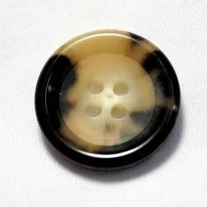 水牛ボタンK-150(COLOR.3A) 白黒15mm(w85124) 紳士服スーツジャケットの袖口・袖ボタンに|ttp