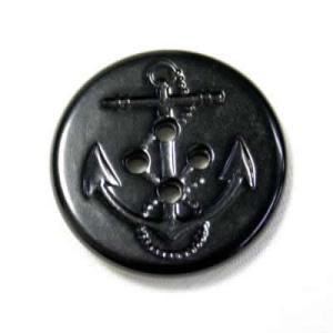 イカリボタン15mm ブラック ピーコートなどのコート・ジャケット 紳士服スーツジャケットの袖口・袖ボタンに|ttp