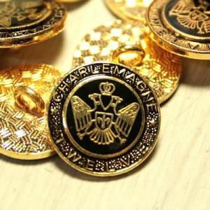 [処分品]七宝M-5・ゴールドブラック・15mm メタルボタン紳士服スーツジャケットの袖口・袖ボタンに|ttp
