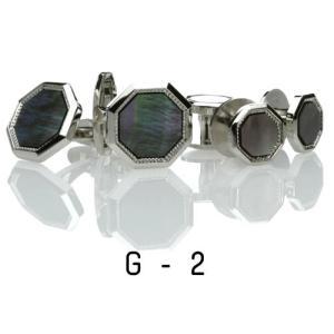 黒蝶貝・カフススタッドセット12.G-2 カフリンクス|ttp