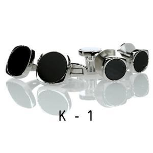 オニキス・シルバー・カフススタッドセット20.K-1 カフリンクススタッドセット|ttp