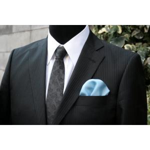 シルク100%ポケットチーフライトブルー シルクチーフ|ttp