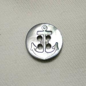 イカリ柄黒蝶貝ボタン 13mm|ttp