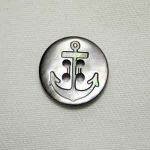 イカリ柄黒蝶貝ボタン 15mm|ttp