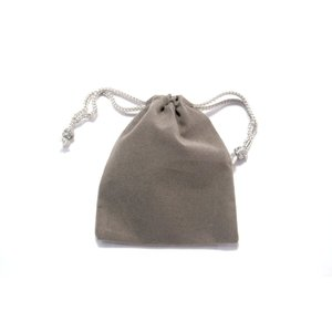 ベルベット調ミニきんちゃく袋グレー縦9cm横6.5cm(ジュエリー保存用ミニ巾着袋ベロア風キンチャク袋9cm×7cm)|ttp