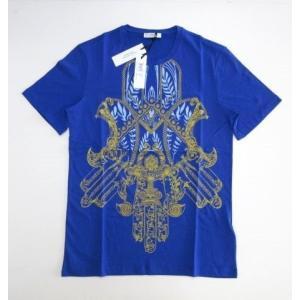 メンズ ヴェルサーチ プリント Tシャツ ブルー XL ttrade