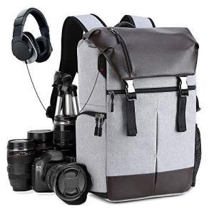 進化版カメラバッグ カメラバックパック リュック 16インチパソコン収納可 一眼レフ レンズ 三脚取り付け可 防水材質 USB&ヘッドホンケ|tts