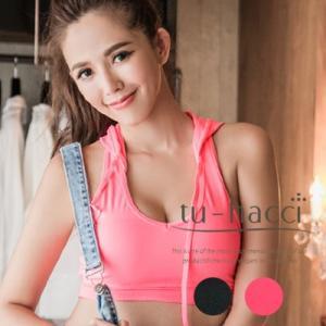 フード付きスポーツブラ2colorブラック/ピンク ブラ単品|tu-hacci