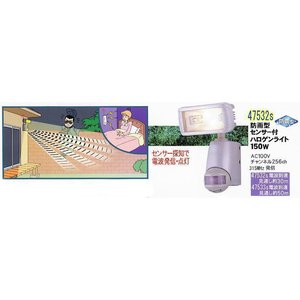 【SA-47532】屋外防雨 315MHz無線 増設用単体 センサー付ハロゲンライト150W tu-han-net