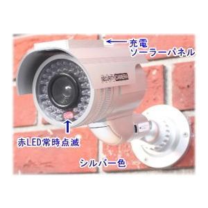 【SA-50556】 防犯カメラ・監視カメラ ソーラー充電式バッテリー内蔵 屋外防雨仕様 ダミーカメラ(シルバー)|tu-han-net