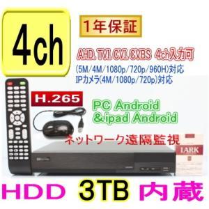 【SA-51172】(HDD3TB内蔵タイプ)AHD&TVI(5M.4M.1080p.720p)CVI映像とアナログ(CVBS)を録画再生可能 H.265 DVR録画機 PC,Android,iPhoneからの遠隔監視対応 tu-han-net