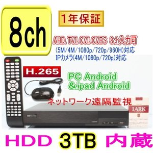 【SA-51177】(HDD3TB内蔵)AHD&TVI(5M.4M.1080p.720p)CVI映像とアナログ(CVBS)を録画再生可能 H.265 DVR録画機 PC,Android,iPhoneからの遠隔監視対応|tu-han-net