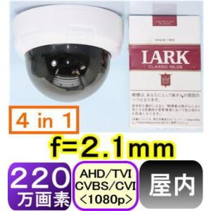 【SA-51202】220万画素 屋内用カラ−ド−ム型防犯カメラ AHD(1080p),TVI(1080p),CVI(1080p)アナログ(CVBS),信号切替出力(4in1) f=2.1mm|tu-han-net