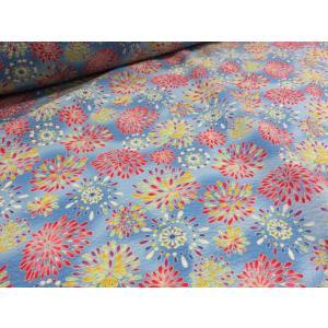 リップル 花火3 ライトブルー水色    安い おしゃれ 布地 かわいい 生地  ゆかた 浴衣 じんべい 甚平|tubameya