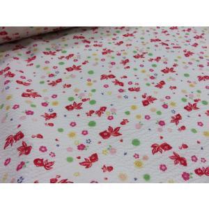 リップル さくら桜と金魚 オフ 女の子 生地 布地 ゆかた シャツ ワンピース 浴衣 ジンベイ 甚平 おしゃれ