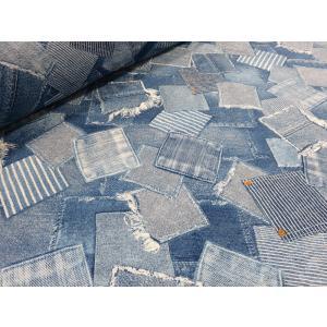 リップル デニムパッチ2 ブルー 男の子 女の子 生地 布地 ゆかた シャツ ワンピース 浴衣 ジンベイ 甚平 おしゃれ