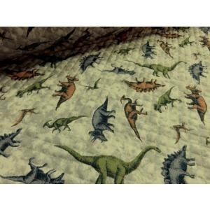 大人気の恐竜のプリントキルトです。扱いやすいCBプリントキルトは、針通りもよく柔らかい風合いですので...