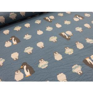 おぐらみこデザイン リップル ペンギンの親子 ブルー 安い おしゃれ 布地 かわいい 生地  ゆかた 浴衣 じんべい 甚平|tubameya