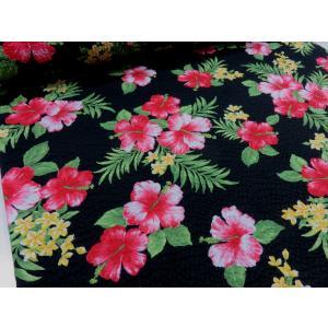 リップル ハワイアン ハイビスカス ブラック 安い おしゃれ 布地 かわいい 生地 ゆかた 浴衣 じんべい 甚平