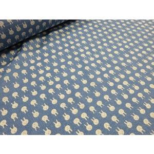 リップル うさぎのお顔いっぱい ブルー 安い おしゃれ 布地 かわいい 生地  ゆかた 浴衣 じんべい 甚平|tubameya