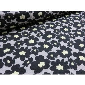 リップル マリメッコ風大きな花柄 ブラック  安い おしゃれ 布地 かわいい 生地  ゆかた 浴衣 じんべい 甚平|tubameya