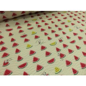 リップル スイカとパンダ オフ  安い おしゃれ 布地 かわいい 生地  ゆかた 浴衣 じんべい 甚平|tubameya