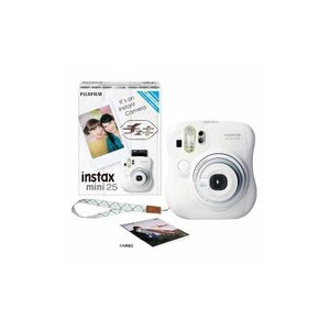 富士フイルム INSTAXMINI25-WHT インスタントカメラ instax mini 25 『チェキ』 ホワイト 純正ハンドストラップ付き|tuhan-station