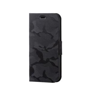エレコム iPhone XR/ファブリックカバー/手帳型/カモフラ/ブラック PM-A18CPLFUCFBK tuhan-station
