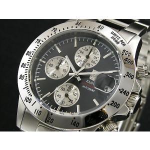 エルジン ELGIN クロノグラフ 腕時計 FK1184S-B ブラック|tuhan-station