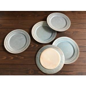 信楽焼、堂本正樹さんの緑青8寸リム皿です。  ------ 使うたび、色んな表情が現われる ----...